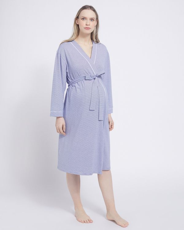 Stripe Maternity Dressing Gown
