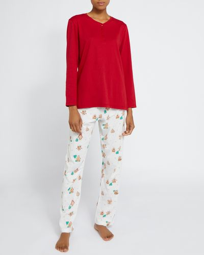 Long-Sleeved Henley Knit Pyjamas