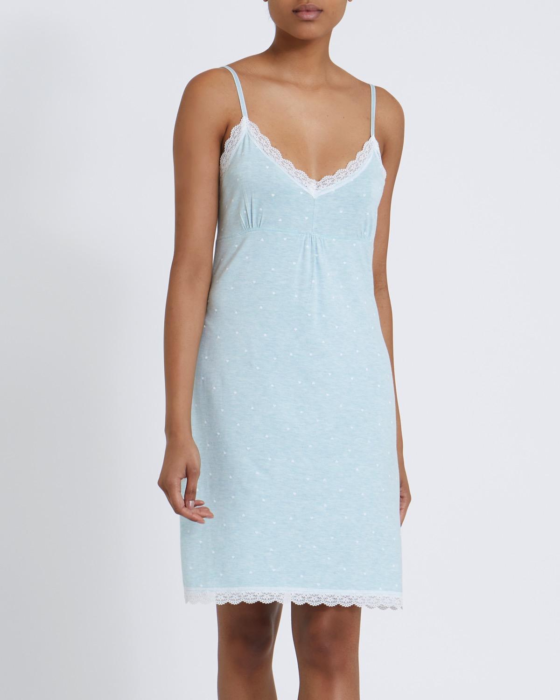 Turquoise Print Lace Chemise