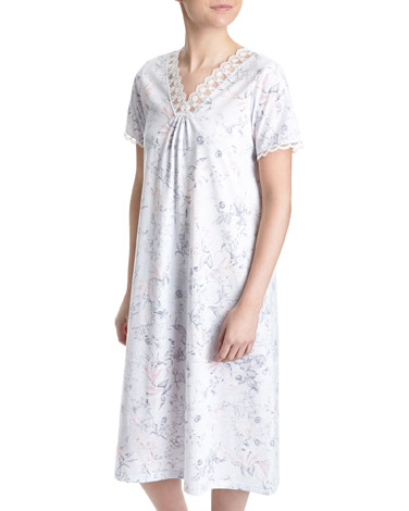 light-blueMesh Lace Nightdress (Regular Length)