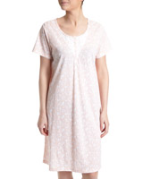 peach Ditsy Lace Nightdress (Short Length)