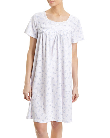blueLace Trim Nightdress (Short Length)
