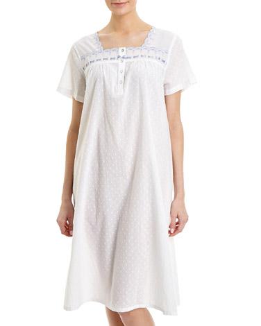 whiteRibbon Trim Nightdress