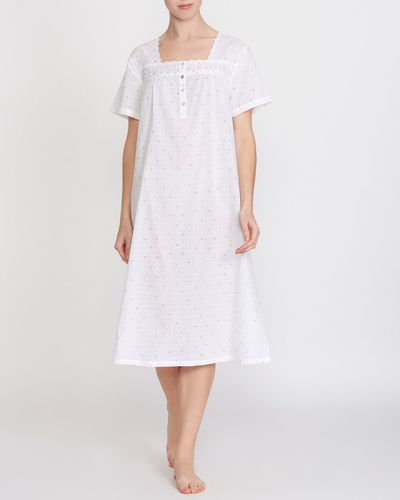 Cotton Trim Dobby Printed Nightdress