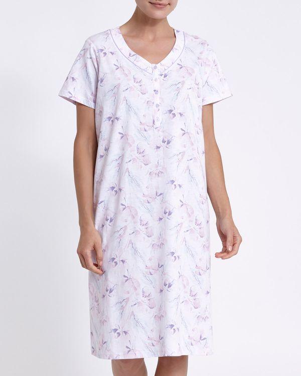 Short-Sleeved Pink Floral Satin Trim Nightdress