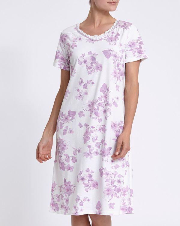 Short-Sleeved Ivory Mesh Neck Nightdress