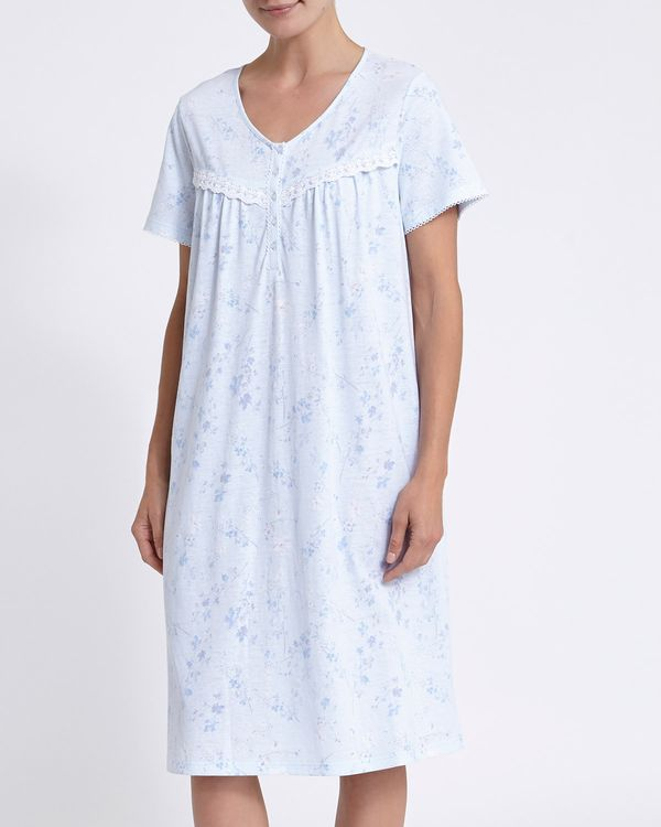 Short-Sleeved Blue Floral Lace Nightdress