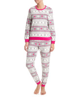 hot-pink Fairisle Fleece Pyjamas