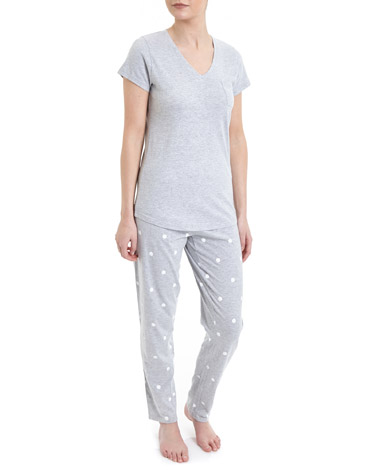 grey-marl Spot Knit Pyjamas