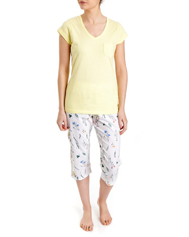 lemon T-Shirt And Cropped Leg Pyjama Set