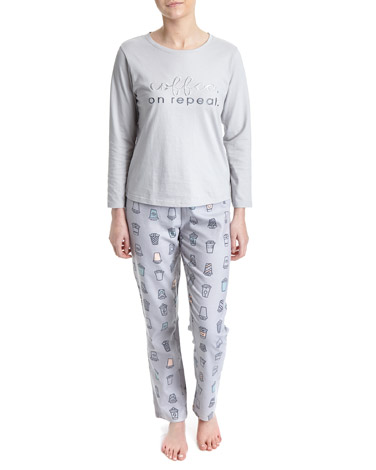 grey Coffee Knit Woven Pyjamas