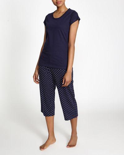 Navy Spot Cropped Pyjama Set