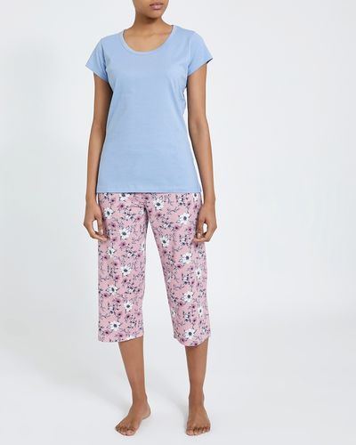 Blue Floral Knit Crop Pyjamas