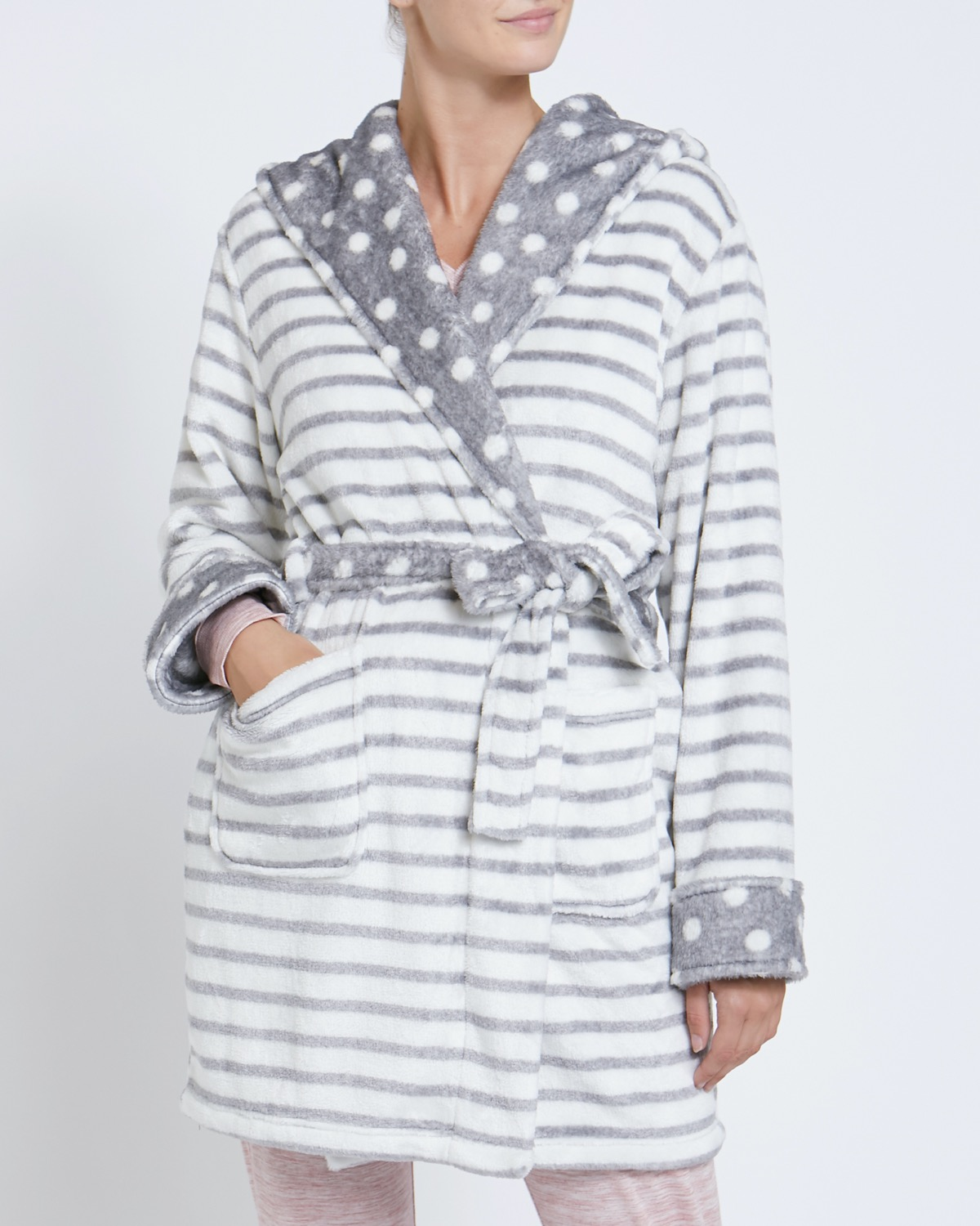 Dunnes Stores Grey Stripe Mix Fluffy Dressing Gown