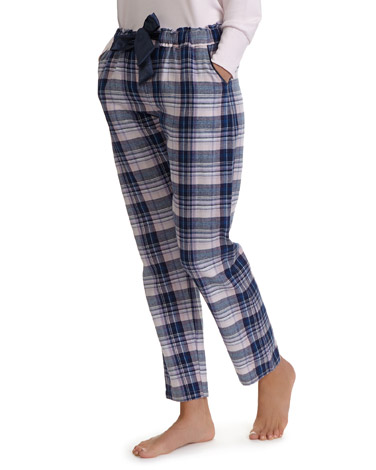 blue-navy Bow Check Pants