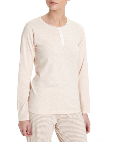peach Lace Trim Henley Pyjama Top
