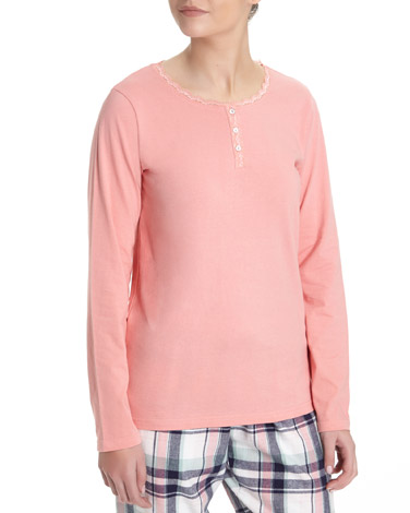 peach Lace Trim Henley
