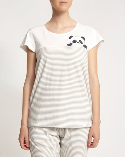 Short Sleeve Panda Stripe Top