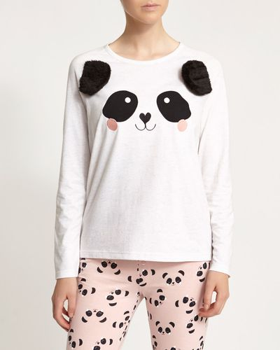 Long Sleeve Panda Top With Pom Poms