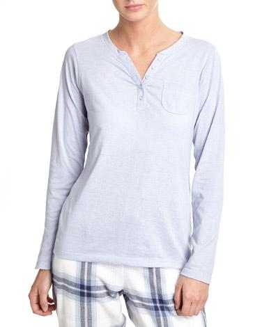 blueLong-Sleeved Henley Pyjama Top