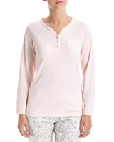 pink Long-Sleeved Henley Pyjama Top