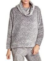 grey-marl Space Dye Cowl Neck Jumper