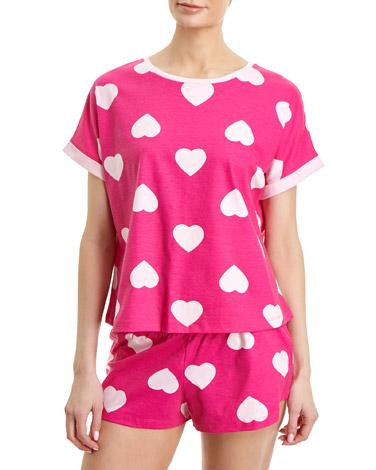 hot-pinkHeart Short Pyjama Set