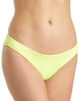 lime Textured Hi-Leg Bikini Bottoms