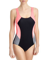 coral Side Striped Sports Swimsuit