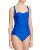 cobalt Ruched Panel Swimsuit