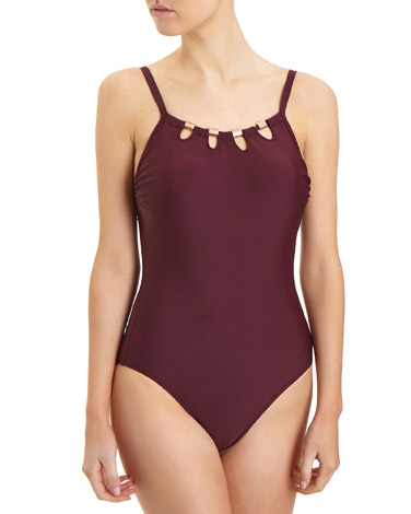 burgundyMetallic Detail Swimsuit