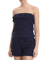 navy Bandeau Frill Playsuit