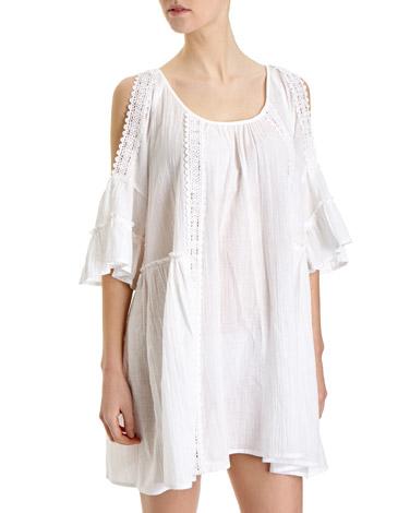 whiteCold Shoulder Dress