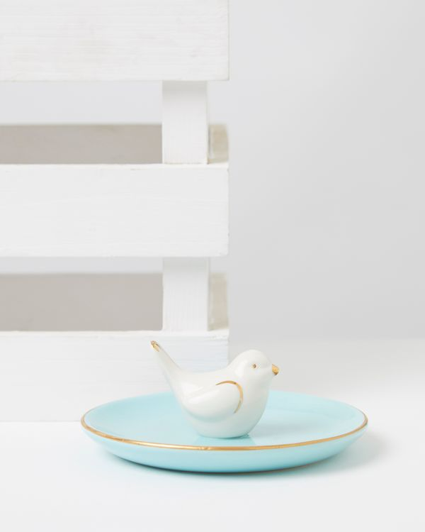 Carolyn Donnelly Eclectic Bird Trinket Dish With Real Gold