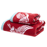 red Carolyn Donnelly Eclectic Crane Guest Towel
