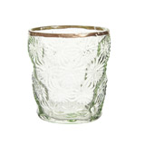 green Carolyn Donnelly Eclectic Glass Votive With Flower Design