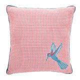 red Carolyn Donnelly Eclectic Houndstooth Bird Cushion