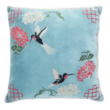 blue Carolyn Donnelly Eclectic Hummingbird Embroidered Cushion