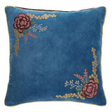 blue Carolyn Donnelly Eclectic Embroidered Bloom Cushion