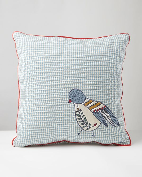 Carolyn Donnelly Eclectic Bird Houndstooth Cushion