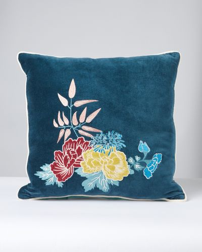 Carolyn Donnelly Eclectic Oriental Flower Applique Cushion