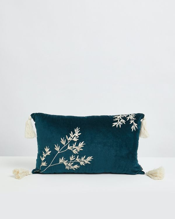 Carolyn Donnelly Eclectic Oriental Embroidered Leaf Cushion