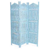 teal Carolyn Donnelly Eclectic Carved Three Panel Screen