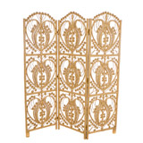 gold Carolyn Donnelly Eclectic Java Rattan Three Panel Screen
