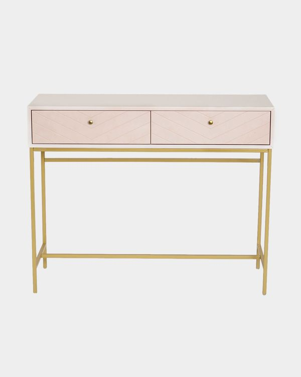 Carolyn Donnelly Eclectic Chevron Console Table With Shelf