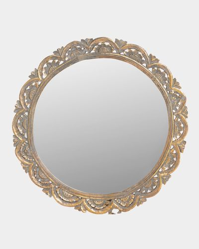 Carolyn Donnelly Eclectic Round Carved Wood Mirror