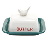 dark-green Carolyn Donnelly Eclectic Bird Butter Dish