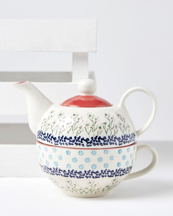 Carolyn Donnelly Eclectic Floral Ditsy Cup And Teapot Set