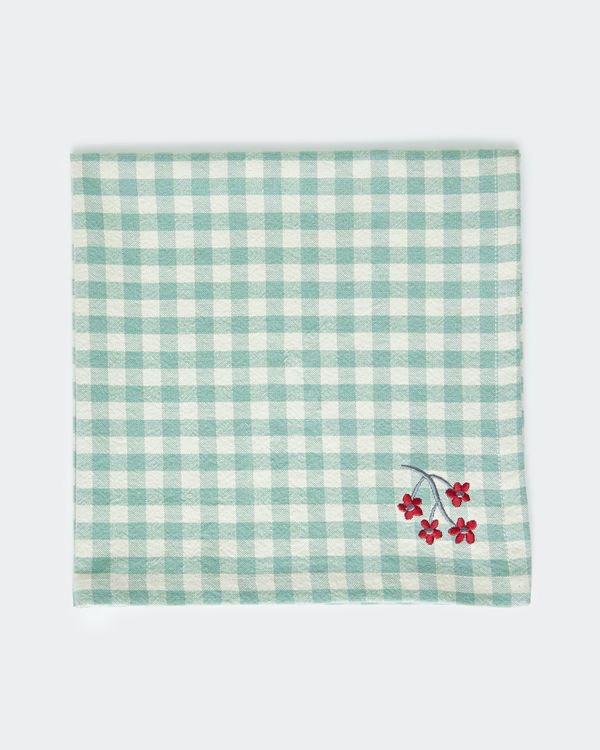 Carolyn Donnelly Eclectic Gingham Embroidered Napkin