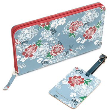 blueCarolyn Donnelly Eclectic Travel Wallet And Luggage Tag Set